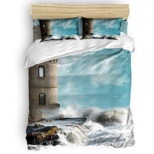 4 Pieces Luxury Soft Microfiber Bedding Sets, Medieval Comfortable Breathable with Zipper Closure Machine Washable Twin Size, Old Middle Age Tower by the Sea Renaissance Buildings Dreamy Princess
