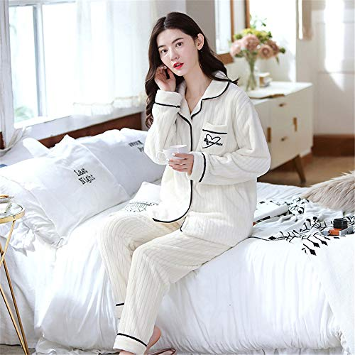 Weiche Damen Pyjamas, Dicke Bademäntel aus Korallenvlies, warme Hauskleidung für Herbst und Winter Größen A29 XL