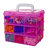 Bins & Things Stackable Toys Organizer Storage Case Compatible with LOL Surprise Dolls, LPS, Shopkins, Tsum Tsum, Calico Critters and Lego - Portable Adjustable Box w/Carrying Handle