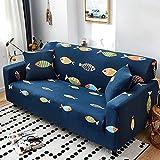 Sofabezug 2Sitzer Sofaüberwurf Haustiere Antirutsch High Stretch Sofahusse Kratzfest Sofa Überzug Spandex Couchbezug für Hunde Dunkelblauer Cartoon-Fisch