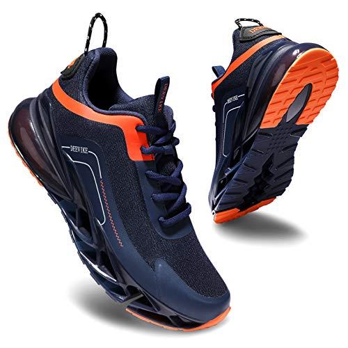 Deevike Sneaker Damen Laufschuhe Wanderschuhe Sportschuhe Turnschuhe rutschfest Stoßfest Fitness Schuhe Blau Orange-37