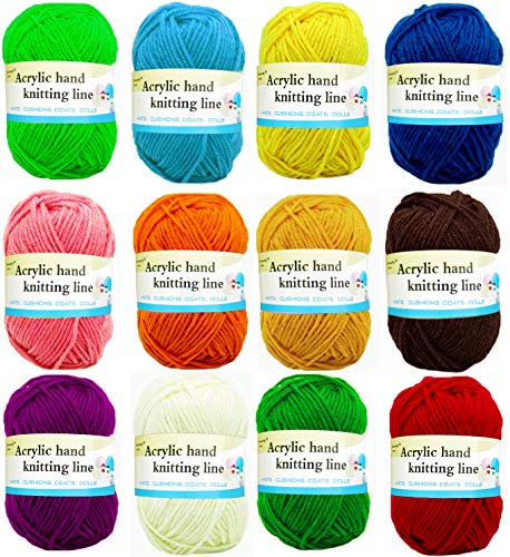 SLONLI Yarn for Knitting and Crochet with 12 Assorted Colors Crocheting Yarn Christmas Gag Gifts for Beginners Kids Adults