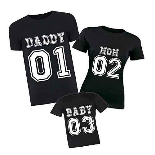 Altra Marca Tris di T-Shirt Magliette Nere Estive Personalizzate per Padre Madre e Figli Daddy Mom Baby - Uomo L Donna M Bimbo 3-4 Anni