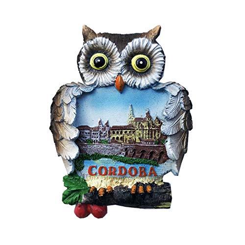 Castillo de Córdoba España Imán de Nevera 3D Resina de la Ciudad de Viaje Recuerdo Colección de Regalo Fuerte Etiqueta Engomada refrigerador