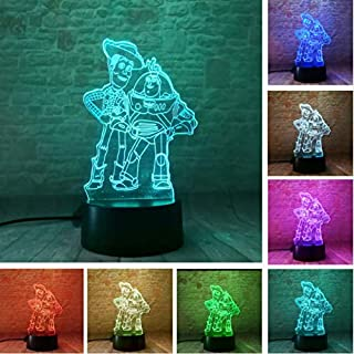 KLSOO Child Toy Story Buzz Lightyear Woody Led Color Change Table Decor 3D Night Light Kids Baby Christmas Festival Birthday Gift