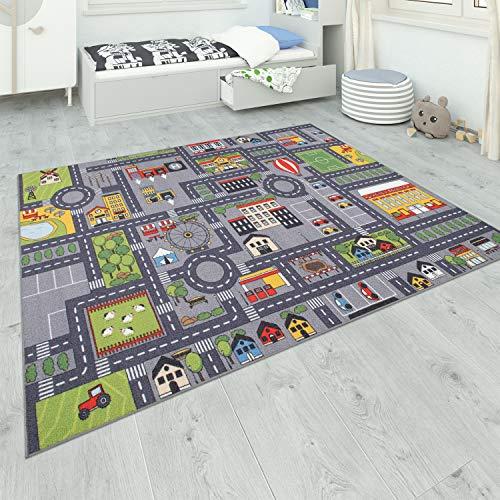 Paco Home Teppich Kinderzimmer Grau Kinderteppich Spielteppich Straßenteppich Mädchen Jungs, Grösse:80x150 cm, Farbe:Grau 2