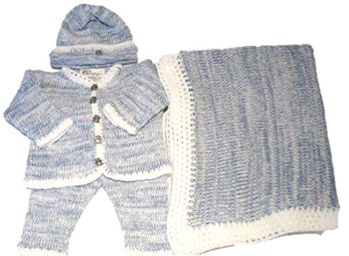 Knitted on Hand Knitting Machine Blue Chenille with White Stripes Finished By Hand Crochet Infant Boys Cardigan Pant Hat Set (0-6mo)