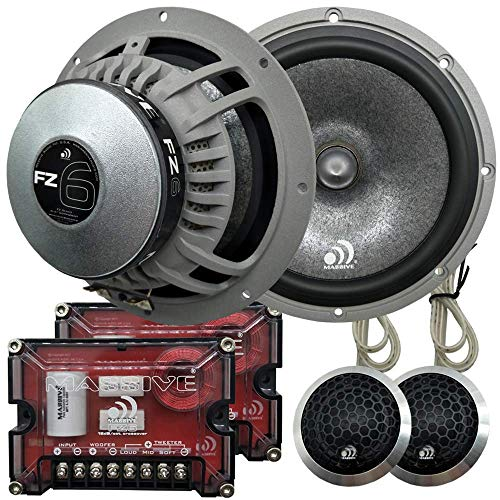 Massive Audio FZ6 – 6 Inch / 6.5 Inch, 200 Watts / 400 Watts Max, 25mm Silk Ferro Fluid Tweeter, 4 Ohm, Mica Paper Cone, 12dB Crossover Kit, Pair