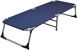 Loungers Folding Bed Person Napping Bed Home Simple Cloth Outdoor Camping Bed (Color : Dark Blue, Size : 183 * 64 * 34 cm)