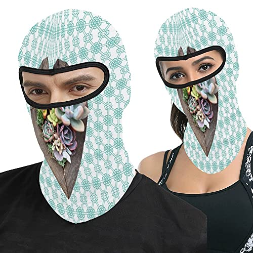 Lesif Colorful Succulent Heart Garden Teal Pattern Full Face Ma-sk Hood Headwear Breathable Balaclavas for Outside Sports Hunting Cycling Motocycling Men Women