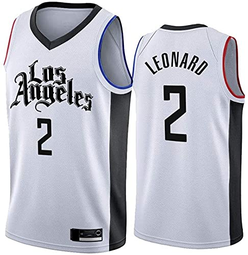 XUECHEN Ropa Jersey para Hombres, NBA Los Angeles Clippers # 2 Kawhi Leonard Basketball Jersey, Camiseta sin Mangas de Malla Transpirable de Tela, Blanco, m (170~175 cm)