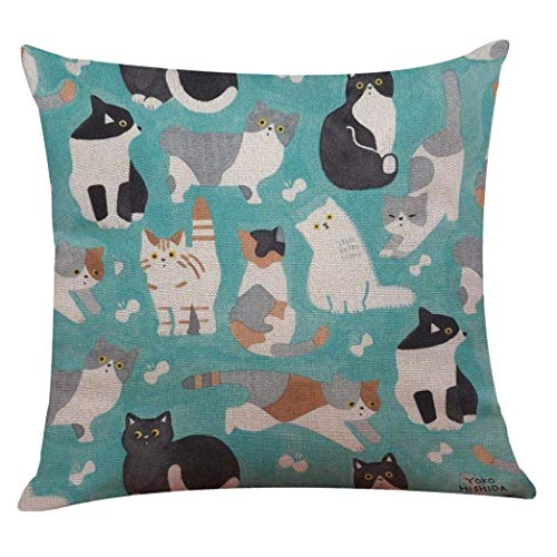 2-pack Indexp Cute Cat Pattern Printing Festival Throw Cushion Cover Sofa Home Decoration Pillow case 50X50cm