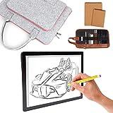 UHAPEER Tavolette da disegno A4 ricaricabile, LED Lavagna Luminosa wireless USB, portatile Light Board 5 livelli dimmerabile, con borsa in feltro, per la pittura Animazione Tatuaggio Schizzi