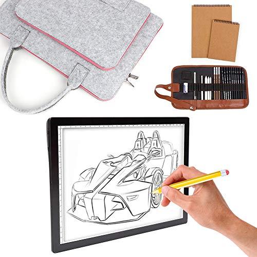 UHAPEER Tables lumineuses A4 LED sans fil rechargeable, Portable Tablette à Dessin à 5 niveaux d'intensité, Light pad Avec sac de transport en feutre, carnet de croquis et ensemble de crayons