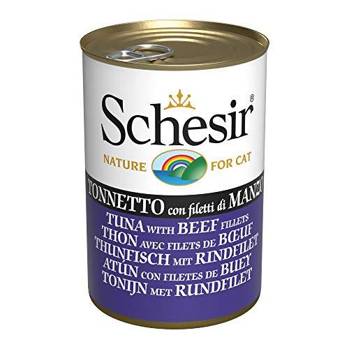 Schesir, Comida húmeda para Gatos Adultos, Sabor bacoreta con filetes de Carne de Buey en gelatina Blanda - Total 3,36 kg (24 latas x 140 gr)