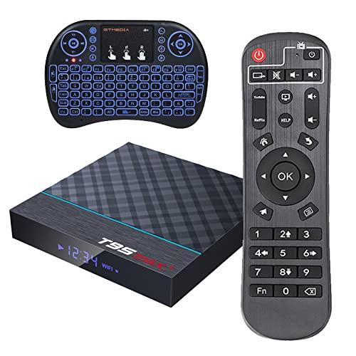 GEQWE TV Box Android 9.0[4GB+64GB]T95 Max+ Quad Core Smart TV Box Supporto Lettore Multimediale Android Supporto USB 3.0/ 3D/ 4K/ 6K/ H.265/2.4G WiFi Set Top Box TV con Mini Tastiera,4gb+64gb
