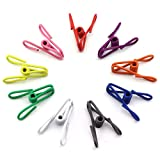 NXG 40-Pack 2 Inches Multicolor Clothesline Clip, Metal Spring Clothing Hanger Hook - Metal Clips Holders - Multi-Purpose Clothesline Spinrg Clips