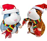 Tockrop 2 Pack Talking Hamster Mouse Plush Interactive Toy Repeat What You Say Mimicry Pet Talking Record for Early Learning