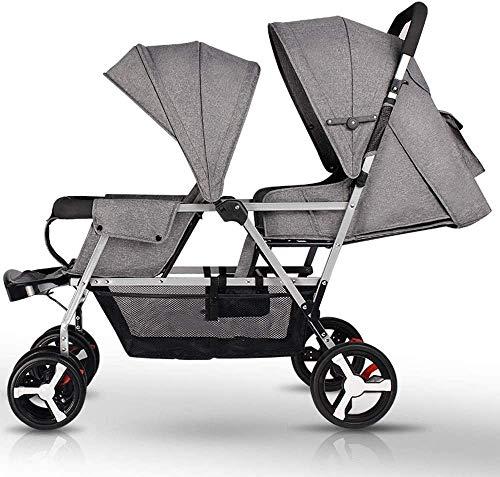 SMSOM Doble Cochecito de bebé 0-36 Meses Cochecito de bebé, de Lado a Lado de los Gemelos Cochecito Cubierta del Carro de bebé del Cochecito de niño Accesorios (Color : Gray)