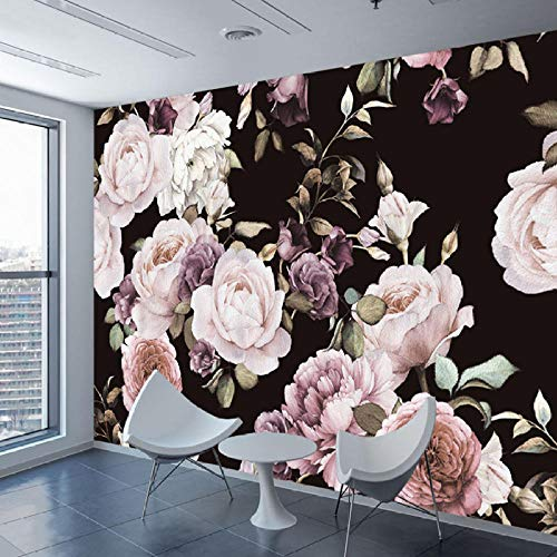 3D Custom Silk Wallpaper Hand Painted Black White Rose Peony Flower Mural Hd Photo Waterproof Wallpaper Bedroom Living Room TV Wall Home Decoration150×105cm