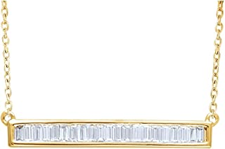 Jewels By Lux 14K Yellow Gold 1/2 CTW Diamond Baguette Bar 16-18