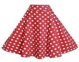 Lolichy Falda de fiesta casual con bolsillos para mujer, estilo vintage, estampado floral, cintura elástica, con estampado floral, Lunares rojos y blancos., 44