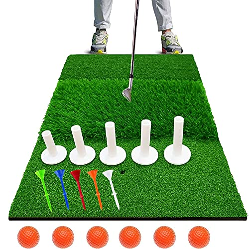 Golf Hitting Mat Large 24 X16 Inch 3 in 1 2 in 1Tri Turf with 5x Rubber Tees 6x Plastic Tees and 6x Foam Balls Golf Practice Chipping Mat Foldable for Garden Backyard Indoor Golf Training Aids