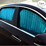 ZATOOTO Parasol para Coche Sombrillas para Ventanas(2 Piezas), Cortinas Magnéticas para Boquear los Rayos UV y el Calor, Azul