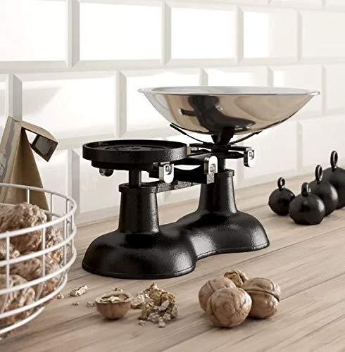 Victor Báscula de Cocina Antigua, Color Negro con Pala de Cromo