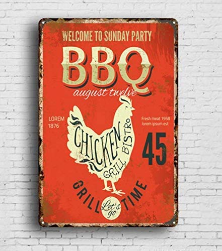 "Placa de metal para barbacoa con texto en inglés ""Welcom to Sunday Party Grill Time"", 20,3 x 30,4 cm, estilo retro, cocina, hogar, restaurantes y pubs, decoración de pared para hombres cuevas"