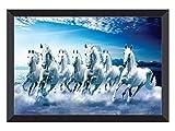 SAF 7 Horses River Large Framed UV Coated Digital Reprint 14 inch x 20 inch Painting (SANFH11) SANFH11