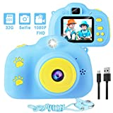 Kids Camera, 1080p Selfie Digital Kids Camera for Boys with 32GB SD Card Rechargeable Battery Children Video Camera Birthday/Christmas/New Year Toy Gifts for 5 6 7 8 9 10 Year Old (Blue-1)
