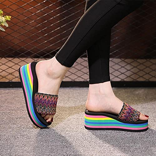 chanclas mujer fila,Zapatillas de arco iris, ropa de verano de la moda zapatillas frescas de moda, pendientes con cremallera de ocio grueso, caminata de playa antideslizante para mujer tomando un dra