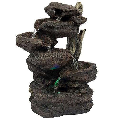 totoshop Home Indoor 6-Tier Tabletop Fountain Waterfall With Multicolor LED Lights