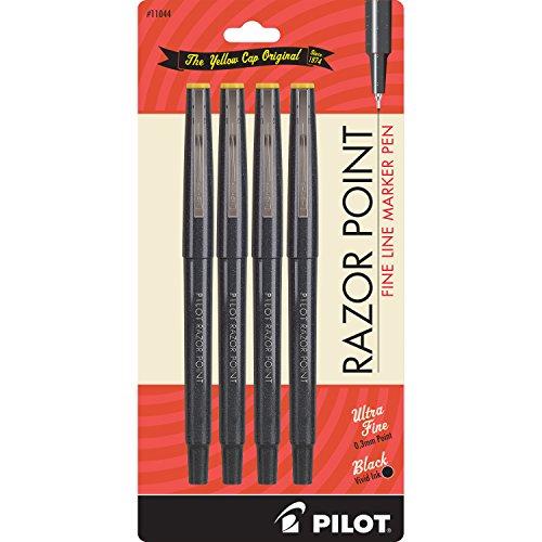 PILOT Razor Point Fine Line Marker Stick Pens, Ultra-Fine Point (0.3mm) Black Ink, 4-Pack (11044) (0.3 Mm Fineliner Pens)