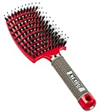 KTKUDY Vent Brush with Boar Bristles Quick Dry Hair Brush Curved Detangling Brush for Women Men Kids Wet and Dry Hair (Red)