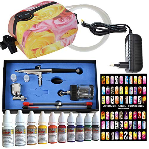 AMUR Airbrush Set: Airbrush Kompressor Set - Airbrush Komplett Set - Mini Airbrush Carry II Rosa - mit Airbrush Nail Farben/Schablonen-Set, Airbrushpistole Double-Action-Gun 0,2/0,3/0,5mm Düsen
