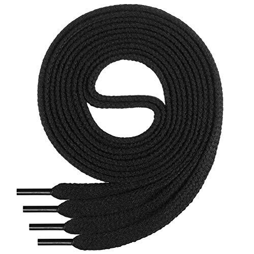 Di Ficchiano Flache SCHNÜRSENKEL aus 100% Baumwolle für Sneaker und Sportschuhe - sehr reißfest - ca. 7 mm breit-black-120