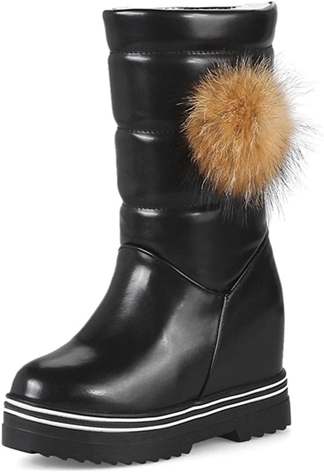Webb Perkin Women Platform Height Increasing Warm Female Boots Round Toe Snow shoes Lady Mid Calf Boots