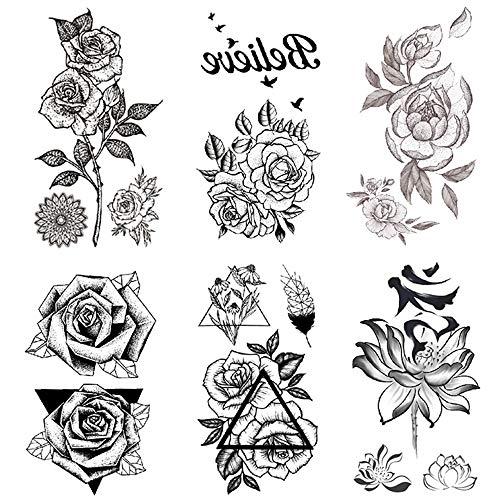 Yesallwas タトゥーシール?薔薇?黒 バラ 花 6枚セット 入れ墨シール リアル 高品質 防水 長持ち 刺青シール ボディーシール メンズ レディース black rose flower temporary tattoos 6x10.5CM