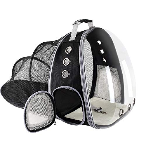 YEAKOO Updated Extendable Pet Travel Carrier Backpack, Waterproof Breathable Capsule Shoulder Bag, Space Capsule Bubble Design, Portable Handbag Backpack for Puppy Cat and Small Dog-Black