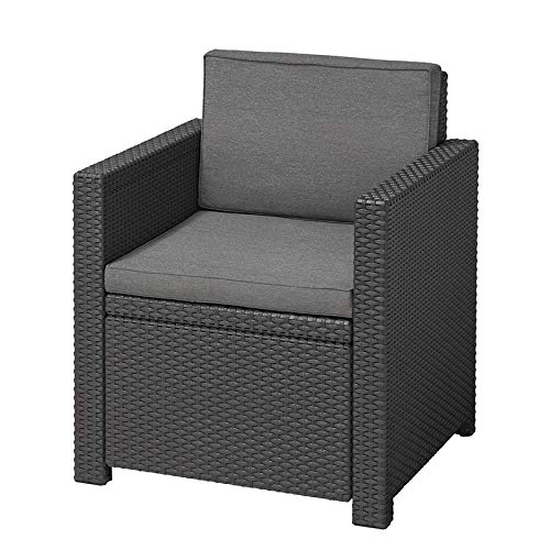 Koll Living Lounge-Sessel Korsika, anthrazit - bequemer Sessel inkl. Sitz- & Rückenkissen - in naturgetreuer Rattanoptik - vielseitig mit Lounge-Sitzgruppen kombinierbar