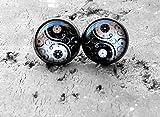 Yin Yang - Pendientes de tuerca de plata, pendientes antiguos, joyas de ensueño, cristal,...