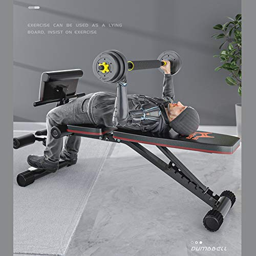7 Level Adjustable Weight Foldable Bench Fitness Equipment with Resistance Band, Roman Chair Full Body Training Workout Sit-Up Incline Bench for Men Women Home Gym Exercise Sports