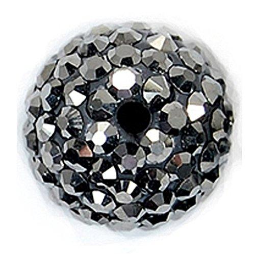 RUBYCA Shamballa-Perlen, 8 mm, Diskokugeln, tschechischer Kristall, Pavé-Fassung, Hämatit, 20PCS