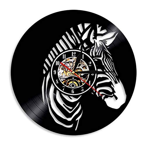 JJYM wandklok safari dieren kinderkamer wooncultuur wandklok zebra vinyl record wandklok pinto paard muurkunst Afrikaanse wilde dier wandklok