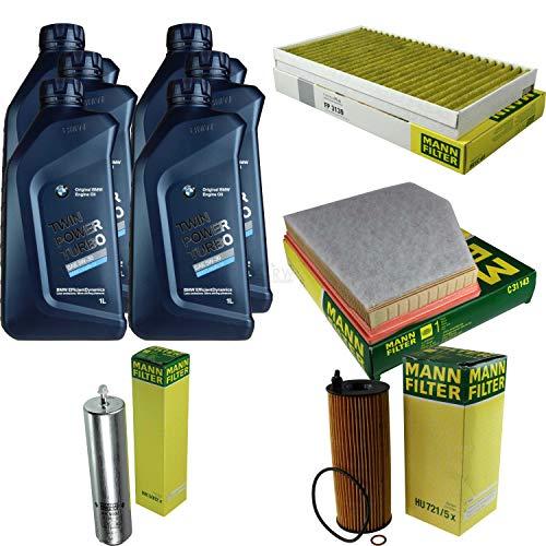 Filter Set Inspektionspaket 6 Liter Motoröl Original Longlife 04 Twin Power Turbo 5W30 MANN-FILTER Innenraumfilter Kraftstofffilter Luftfilter Ölfilter