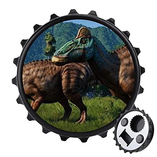 Jurassic City - Abrebotellas de cerveza multiusos con una tapa, diseño de nevera