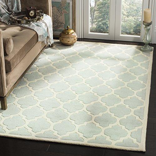 Safavieh Geometrisch gemusterter Teppich, CHT734, Handgetufteter Wolle, Grau/Elfenbein, 91 X 152 cm