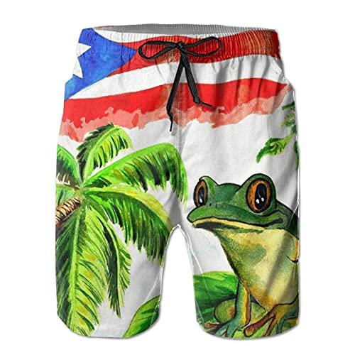 QUEMIN Guter Schlaf mit Puerto Ricos Frosch Herren Badehose Bedruckte Strandshorts Schnelltrocknende Sommer Boardshorts mit Mesh-Futter XL